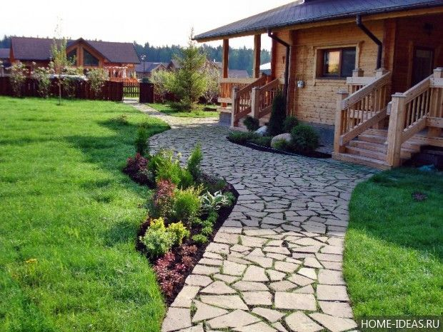 фото красивая дорожка из камня на даче