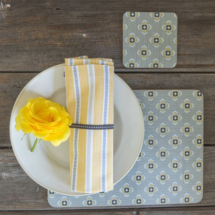 I've just found Ledbury Ochre Grey Napkin. Our crisp organic napkins are sold in a set of 4, they will add the finishing touch to your dinner or teatime table.. £20.00
