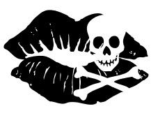 Kiss Of Death Temporary Tattoo (kissing lips with a skull)