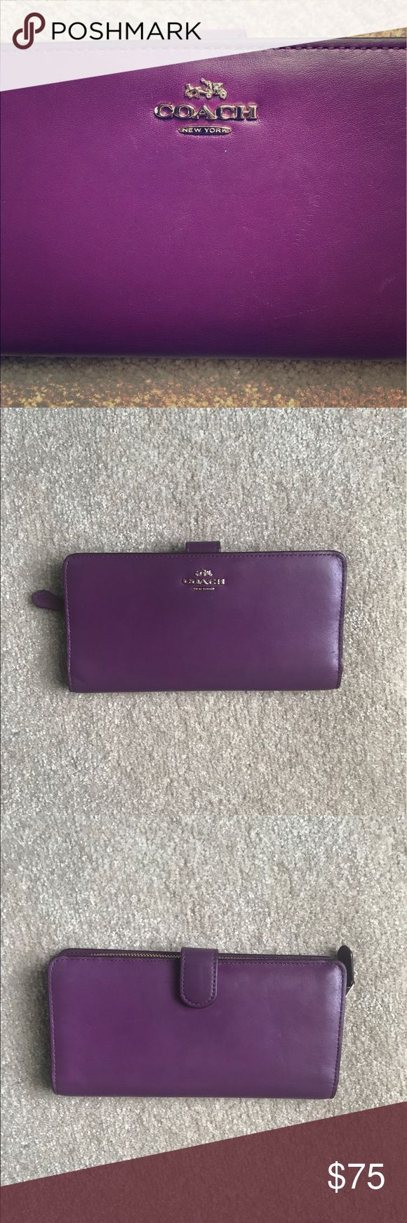 "Coach Skinny Wallet Coach Skinny Wallet in Purple. Leather. Sixteen credit card pockets. Three full-length bill compartments. ID window. Zip coin pocket. Snap closure. 7 3/4"" (L) x 4"" (H). Gently used, shows slight scuffing (see photos). Smoke free home. Coach Bags Wallets"