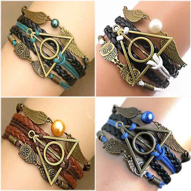 Multilayer Braided Vintage Owl Deathly Hallows Wings Infinity Bracelet Bangle
