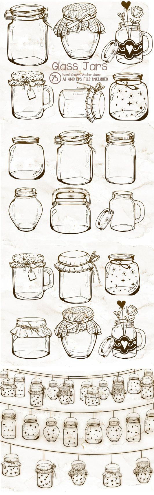 This is a listing for a set of mason or glass jars clipart. Every graphic included in this set was hand drawn and sketch in Adobe Photoshop and (Broken Bottle Sketch)