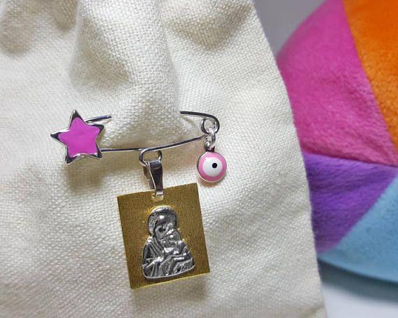 Baby Girl Jewelry, Newborn Girl Gift, Baby Girl Gift, Christian Baby Gift, Christian Newborn Gift, Stroller Pin, Virgin Mary Baby Charm