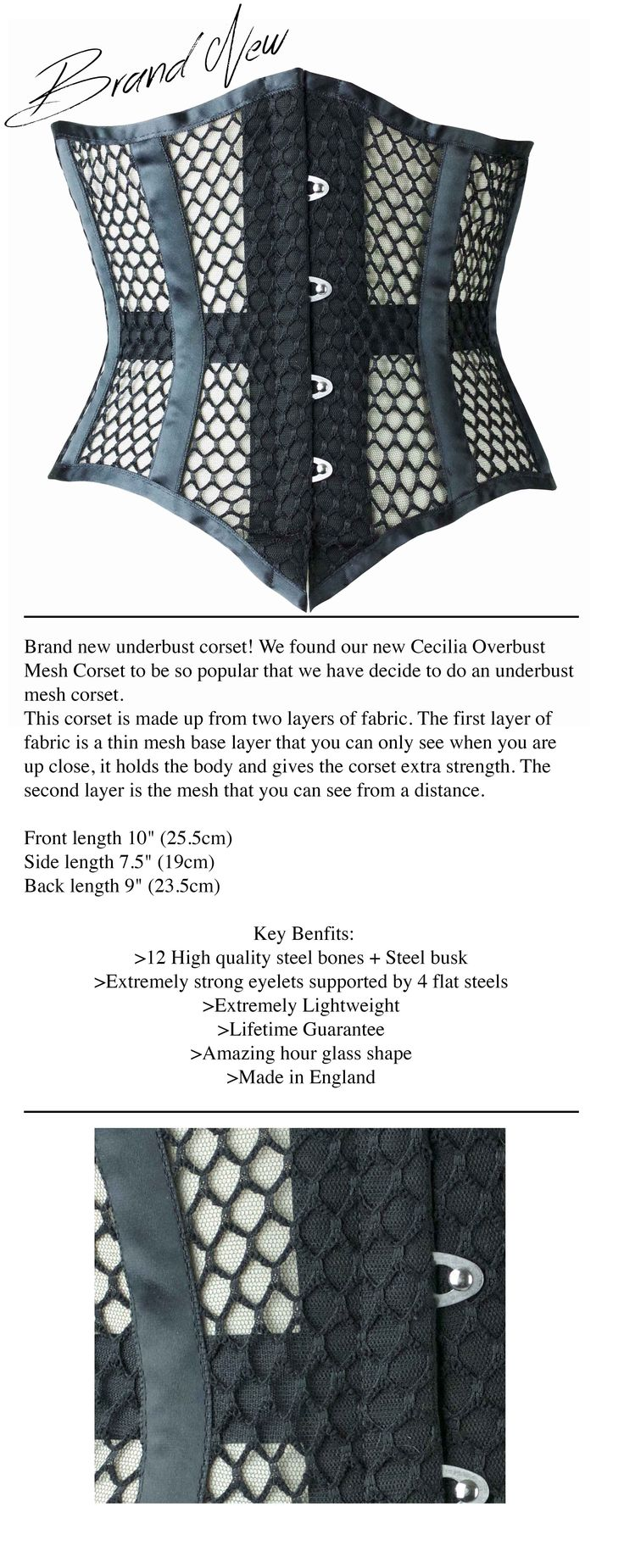 Brand New Underbust Black Mesh Corset #Corsetry #Vollers  http://www.vollers-corsets.com/hannah