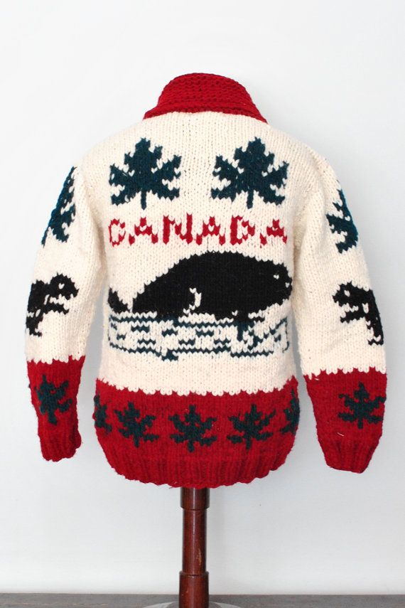 Canada Sweater New Cardigan Jumper Mary Maxim Cowichan Curling Sweater on Etsy, $139.00