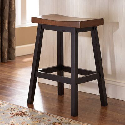 Features:  -Solid hardwood construction.  -Contoured seat.  -Saddle barstool.  Frame Material: -Wood.  Distressed: -Yes.  Seat Material: -Wood.  Style: -Traditional.  Seat Style: -Saddle.  Number of I