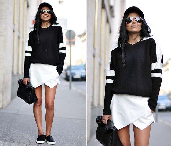 Asos Leather Cap, Ray Ban Aviator Sunnies, Zara Jumper, Zara Skort, Zara Lunchbag, Zara Vans
