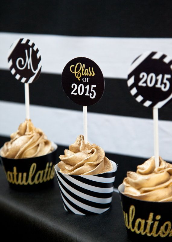 Black and Gold Graduation Cupcake toppers and by SunshineParties