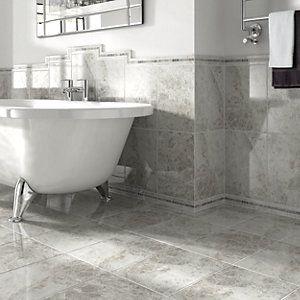 Wickes Cappuccino Light Grey Gloss Ceramic Wall & Floor Tile 360x280mm | Wickes.co.uk