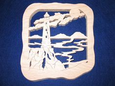 Light House Wall Art made from Oak wood 3/4 of an inch thick. This is stained with a Golden Oak color which makes it look really nice. Great as an accent item for those who like the nautical theme.