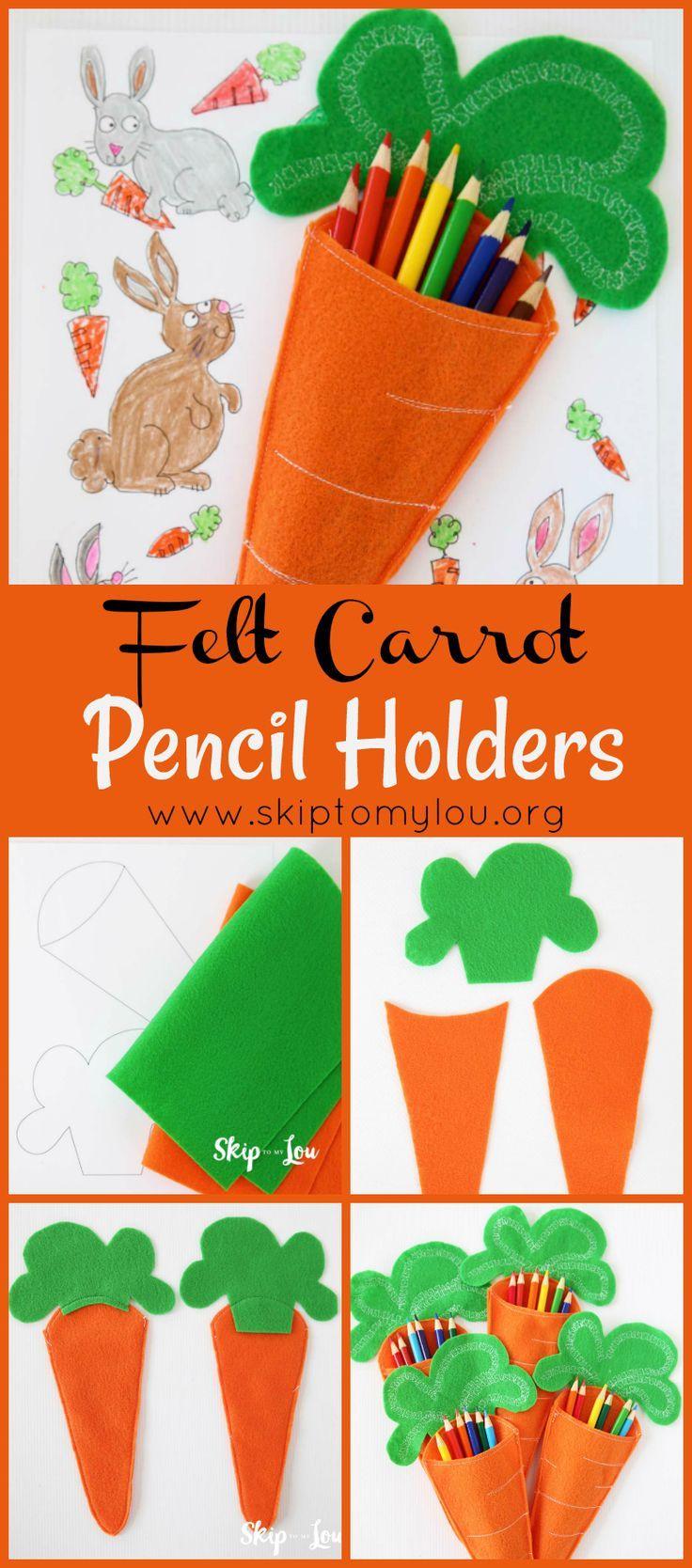 Felt Carrot Pencil Holders Celebrate Easter Easter Crafts