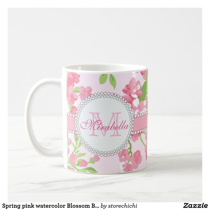 Spring pink watercolor Blossom Branches name