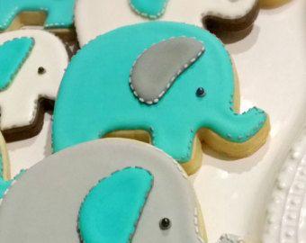 Azul vestido Cookies 1 docena Cookie Favor Baby por MarinoldCakes