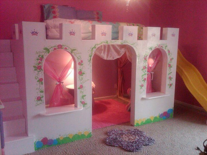 Princess castle bed my husband designed and built for our daughters 6th birthday!