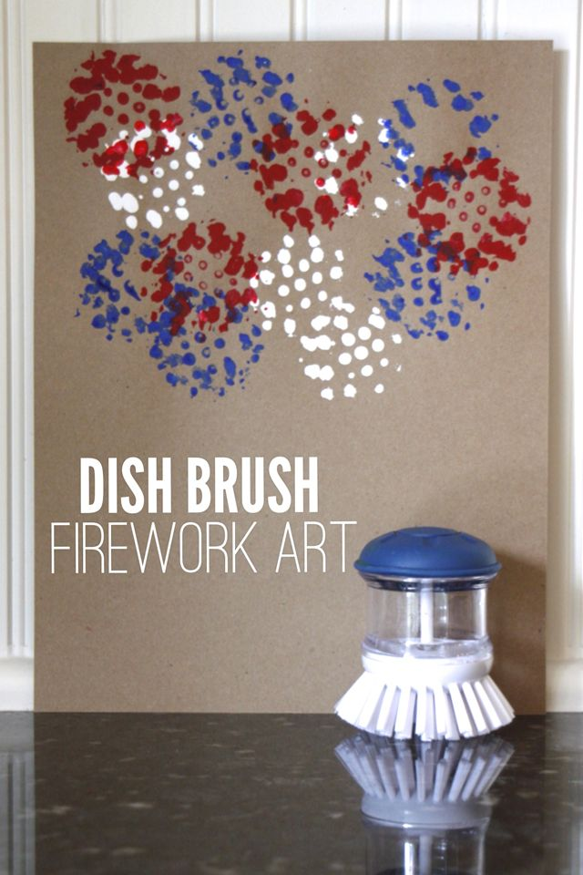 Make Fourth of July Firework art with a dish brush! So easy!