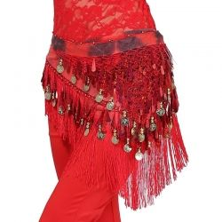 Buikdans heupsjaal spaans arabisch - rood