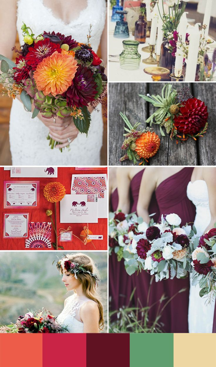 5 summer wedding color ideas inspired by this season's hottest flowers - Wedding Party | 5. A RICH DAHLIA-INSPIRED COLOR PALETTE