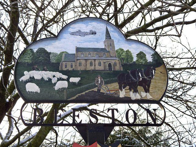 The village sign of Beeston, Norfolk.