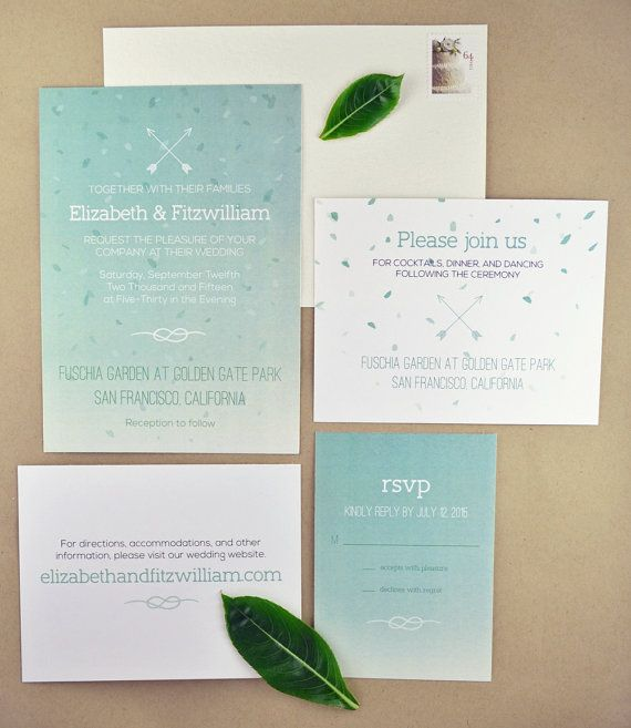 A beautiful DIY printable wedding invitation suite in a mint green ombre, great for spring and summer weddings. Features arrow and knot motifs.  Suite includes matching invitation, rsvp response card, reception card, and information enclosure card.  By Pink Balloon Paper (www.etsy.com/shop/pinkballoonpaper)
