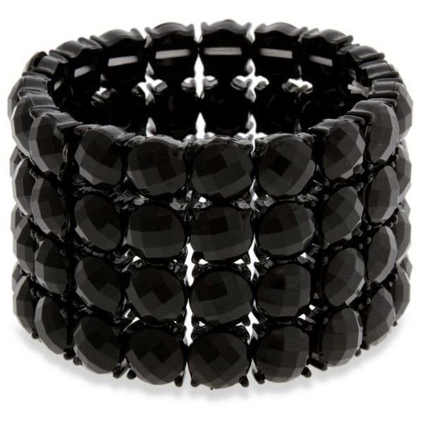 Erica Lyons  Black Tone Little Black Dress 4 Row Stretch Bracelet ($17) ❤ liked on Polyvore featuring jewelry, bracelets, black, stretch jewelry, beaded jewelry, beads jewellery, erica lyons jewelry and erica lyons
