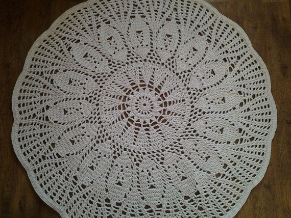 Crochet doily round rug 70''178 cm/Crochet by AnuszkaDesign