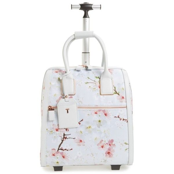 Women's Ted Baker London Alayaa Cherry Blossom Two-Wheel Travel Bag ($295) ❤ liked on Polyvore featuring bags, luggage and light grey