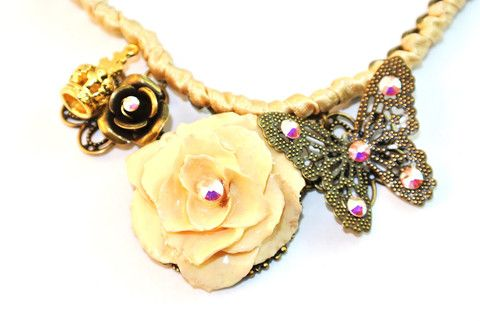 European Cream Rose Necklace Sarah Blue real flower jewellery collections