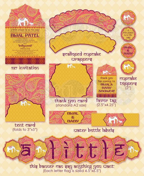 Baby shower Bollywood! Printables by BlissfulBlueDesigns on Etsy.