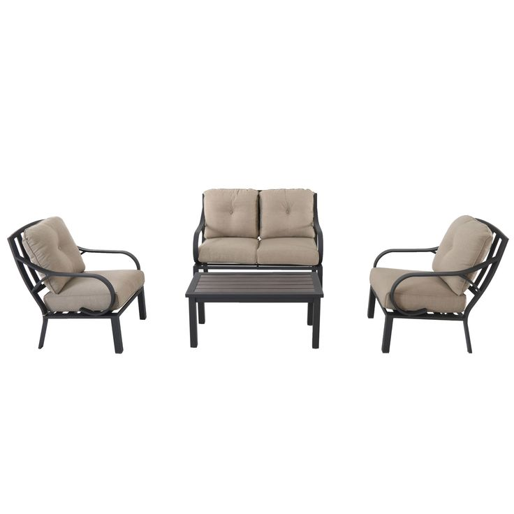 The Norman 4-Piece Aluminum Cushion Seating Set features rust-free aluminum framing. The Lounge Chair and Loveseat includes generous, extra deep cushioning for