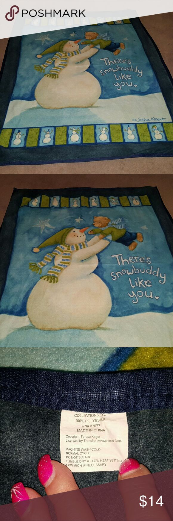 Collections ect. 50x62 Snowman Fluffy Throw. A 50x62 collections very fluffy and soft throw with a cute snowman on it holding a sweet little teddy bear. It reads  There's snowbuddy like you. This is just the right size to throw over your lap on those chilled nights watching TV, or a great size for a young child makes a great gift. Other