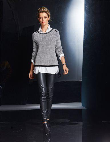Damen Pullover in Boxyform mit Kaschmir, Langes Damen Hemd mit gerundetem Saum und Seitenschlitzen, Damenhose in Lederoptik