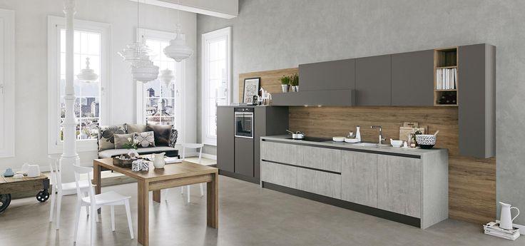 Cucina moderna kal finitura cemento e maxximatt lavagna piano in laminato cemento for Piano cucina in cemento