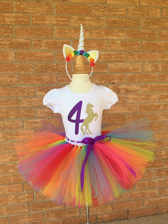 Rainbow Unicorn Fourth Birthday Shirt 4th Outfit Girls Party 4 Year Old Tutu