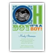 Oh Boy Blue Photo Baby Shower Invitations   PaperStyle