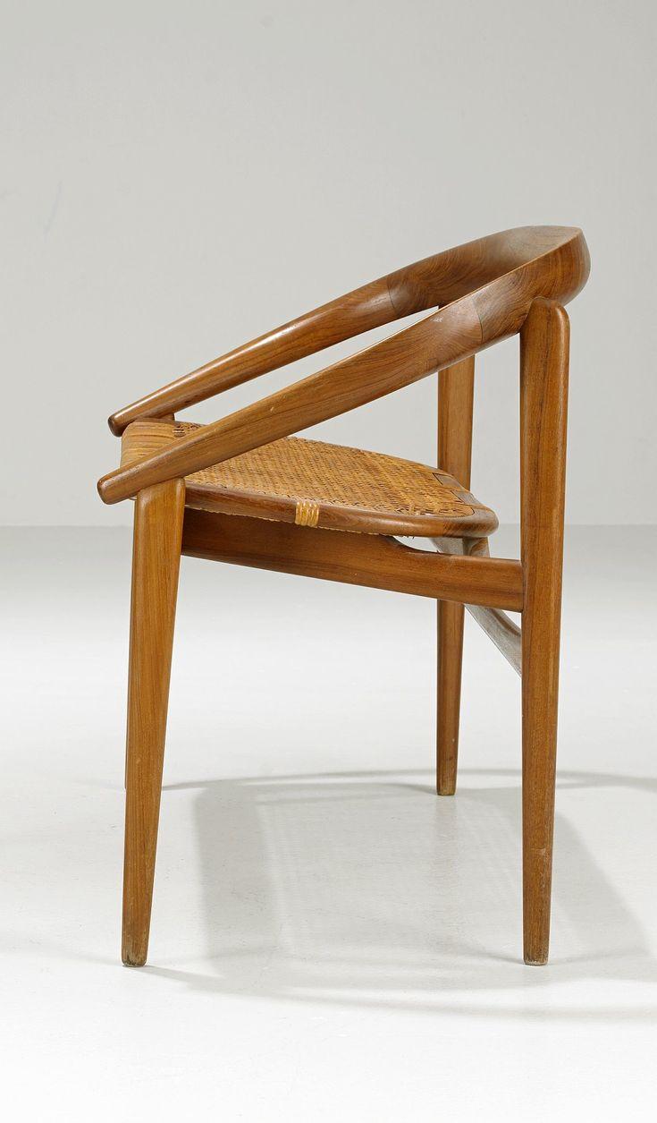 H. Brockman-Petersen; Teak and Cane Chair, 1950s.