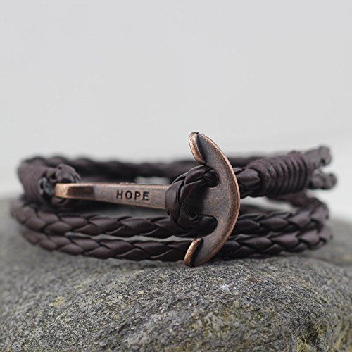 Amazon.com: Кожа высокого качества Якорь браслет для мужчин и женщин-Прочный кожаный браслет-Unisex Мода ювелирные изделия: одежда