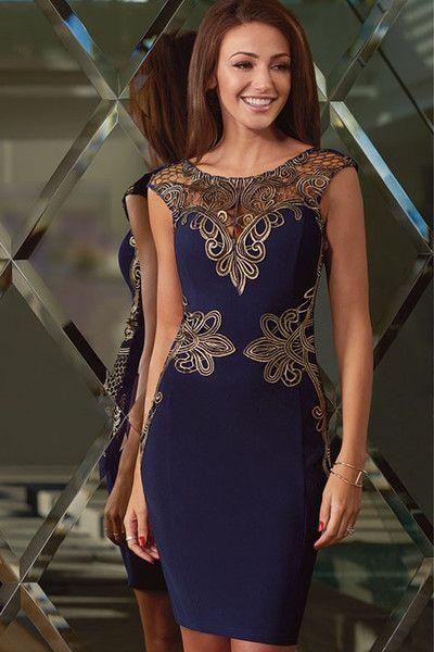 HisandHerFashion Exquisite Foiled Lace Sleeveless Navy Shift Dress