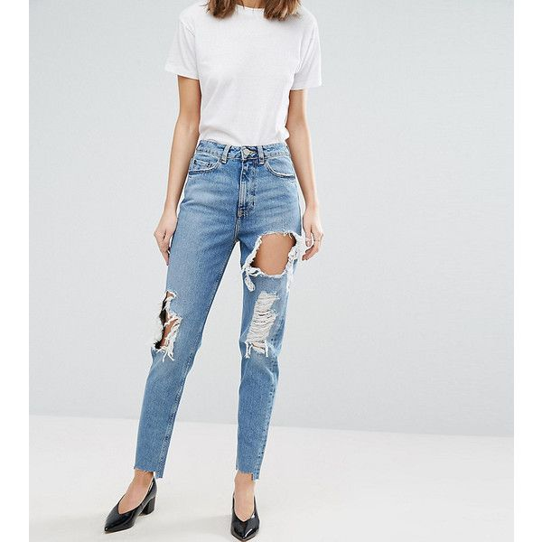 ASOS TALL ORIGINAL MOM Jean In Phoebe Wash With Rips & Stepped Hem ($39) ❤ liked on Polyvore featuring jeans, blue, slim ripped jeans, high waisted destroyed jeans, slim fit jeans, tall jeans and high waisted distressed jeans