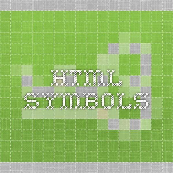 HTML Symbols