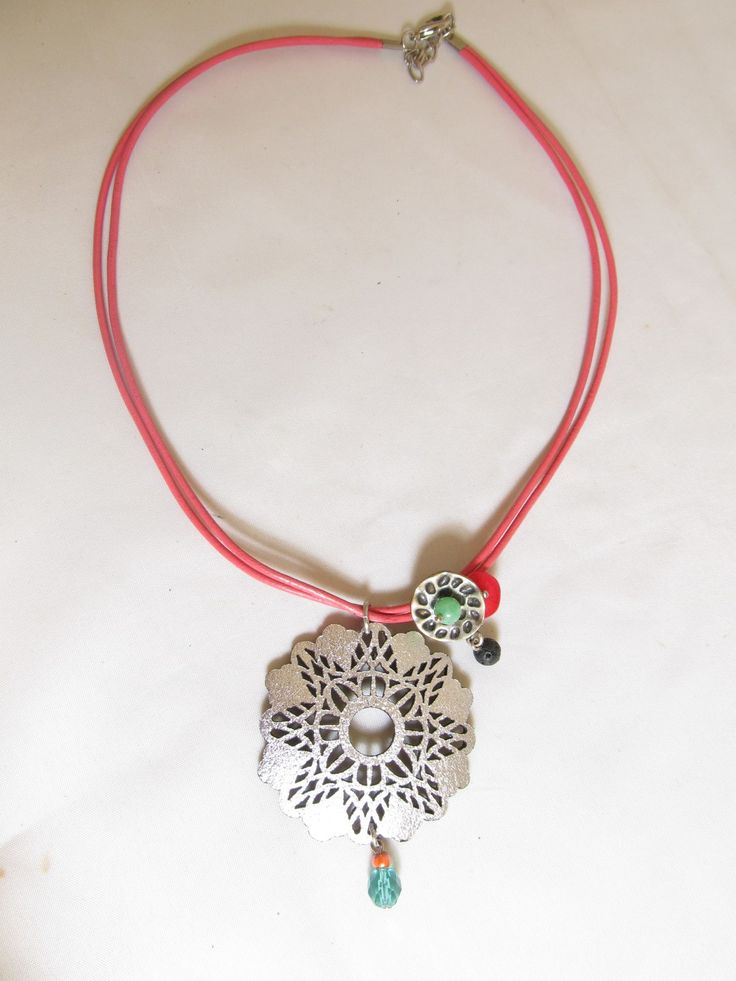 Handmade short necklace with silver leather filigree (1 pc)  Made with silver leather filigree, leather cords, metal and semiprecious stones.