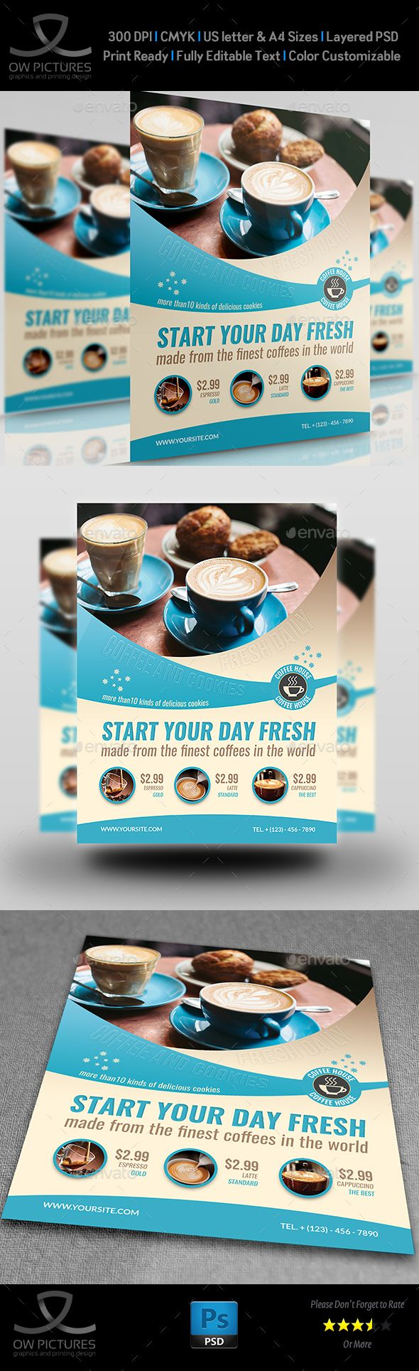Cafe Flyer Design Template Vol.5 - Flyers Print Template PSD. Download here: https://graphicriver.net/item/cafe-flyer-vol5/19175524?ref=yinkira