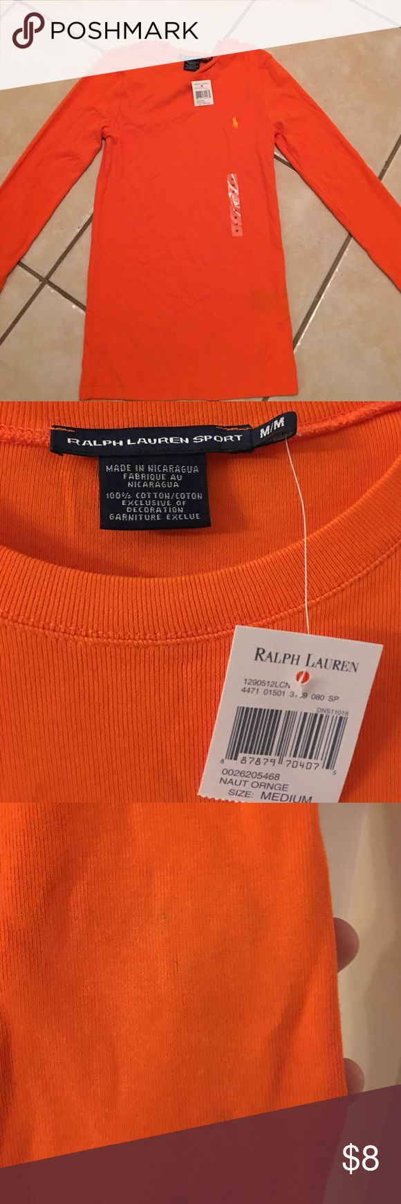 Orange Polo Ralph Lauren Long Sleeve Shirt Brand new, does have a small stain which I showed in one of the pictures Polo by Ralph Lauren Tops Tees - Long Sleeve