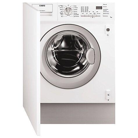 AEG L61271BI BI Integrated Washing Machine, 7kg Load, A++ Energy Rating, 1200rpm Spin, White