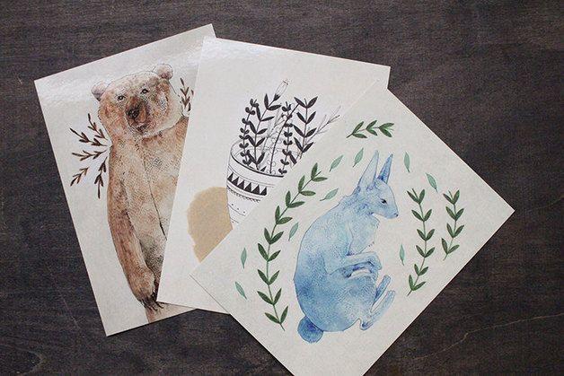 Set of 3 Postcards - Botanical Illustrations - thebluerabbithouse - Pocztówki - zwierzęta