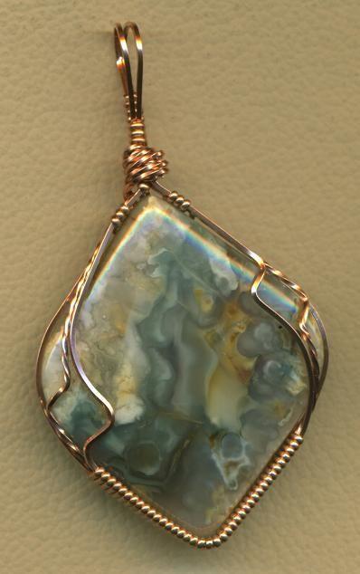 Tahoma Jasper Copper Wire Wrap Pendant