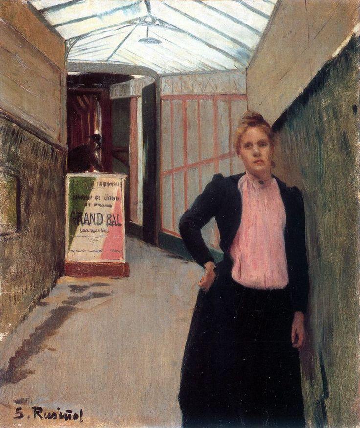 Madeleine devant le guichet du Moulin de la Galette  Santiago Rusiñol 1890