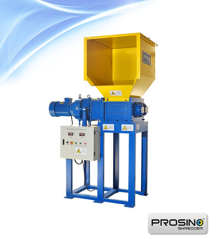 PROSINO PS-D series single-motor double shaft shredder is a multi-purpose shredder machine. With the two rotary cutting shafts design, this shredder has wide application incl plastic, paper, rubber, wood, metal containers etc. Also it is ideal to shred large piece of hard plastic or heavy tires.