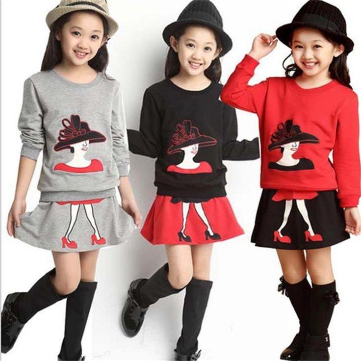 $7.26 (Buy here: https://alitems.com/g/1e8d114494ebda23ff8b16525dc3e8/?i=5&ulp=https%3A%2F%2Fwww.aliexpress.com%2Fitem%2Fbaby-girls-clothes-set-2016-Long-Sleeve-Cartoon-Print-shirt-Skirt-Outfits-children-clothing-sets-girl%2F32734350107.html ) baby girls clothes set 2016Long Sleeve Cartoon Print shirt +Skirt Outfits children clothing sets girl clothes good  for just $7.26