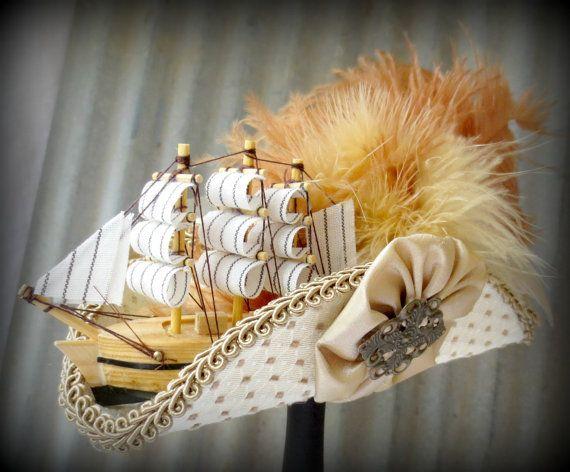 Cream Pirate Mini Tricorn Hat Marie by Somethingfancydesign, $75.00