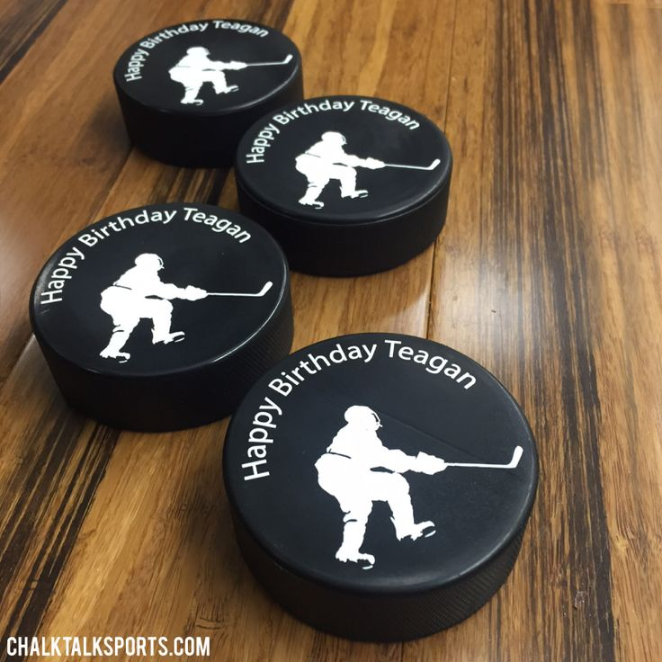 Our personalized hockey pucks make great gifts for party favors, baby…